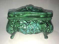 Very Beautiful Vintage Emerald Green Footed Ceramic by OfYearsPast