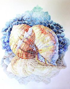 Shell Mosaic Watercolor Painting....This is really pretty. I think it was achieved by masking off the white grout areas before painting.