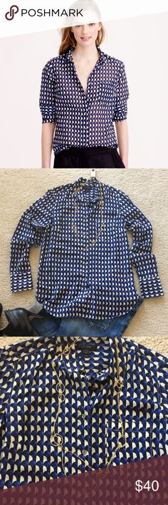 "J. Crew Boy Shirt in Jet Set Geo J. Crew Boy Shirt in Jet Set Geo. Gorgeous print💜 Easy to wear. Super soft and lightweight. Black, bluish purple, creamy white colors. Curved shirttail hem. Long sleeves. Chest pocket. Laying flat approx 28"" shoulder to hem, approx 18.5"" pit to pit. 73 cotton 27 silk. Size 4. Excellent condition. J. Crew Tops"