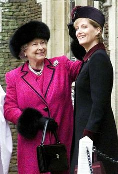 Her Majesty with Her daughter-in-law, Sophie, Countess of Wessex. Christmas Day church service, Sandringham, 25 December 2002