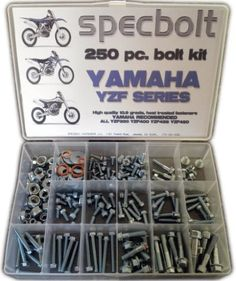 Specbolt Yamaha YZF 250 400 426 450 Bolt Kit for Maintenance Restoration OEM Spec Fasteners by Specbolt Fasteners. $49.99. This Specbolt 250 piece kit will save you many trips to the dealership for that special OEM fastener needed for all liquid cooled Yamaha YZF four Stroke models. This includes YZF250 YZF400 YZF426 and YZF450. Your Bolt Kit will include just the right amount of factory match flange bolts, chain adjuster bolts, sprocket bolts, fork guard bolts, flange...