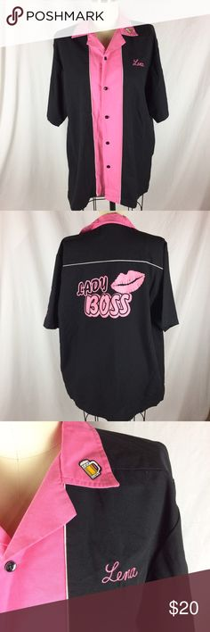 Bowling Shirt Pink and black bowling shirt with a cute beer patch. Tops Button Down Shirts