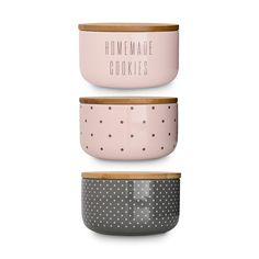 Für alle Naschkatzen: Bloomingville Keramik Vorratsdosen-Set im Skandinavischen Design mit Bambusdeckel rund 14 x 9 cm 3 tlg.