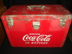 "vintage Coca Cola Strong Box Cooler, measures 17"" x 9"" x 11"""