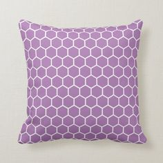 Shop Lavender and White Honeycomb Hexagonal Pattern Throw Pillow created by ThrowPillowNest. Honeycomb Pattern, Hexagon Pattern, Purple Pattern, Pink Patterns, Purple Throw Pillows, Decorative Throw Pillows, Free Sewing, Custom Pillows