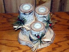 Photo Gallery - Rustic Woodworking More wood crafts crafts design crafts diy crafts furniture crafts ideas Log Candle Holders, Christmas Candle Holders, Christmas Centerpieces, Christmas Candles, Christmas Log, Diy Christmas Gifts, Christmas Projects, Natural Christmas, Tree Crafts