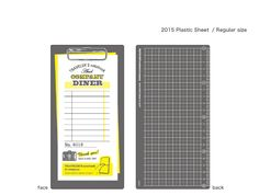 TRAVELER'S notebooks / 2015 DIARY | Plastic sheet A writing (under-)sheet makes it easier to write while standing. The sheet can also make a handy bookmark or a ruler. The front side of the 2015 sheet features a design of a diner's order slip