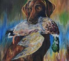 Dog and Duck Stretched Canvas Print