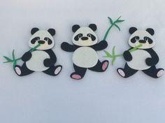 Glitter Foam Pandas/Bamboo X 3, Die Cut Embellishments, Card, Craft Toppers Felt  | eBay Cut Animals, Die Cutting, Embellishments, Minnie Mouse, Bamboo, Felt, Glitter, Ebay, Disney Characters