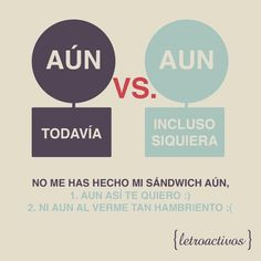 ¿Aún no conoces la diferencia entre 'aún' y 'aun'? ¿Still have trouble telling the difference between 'aún' and 'aun'? #laemadrid www.laemadrid.com