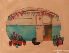 Vintage Blue Caravan Illustration