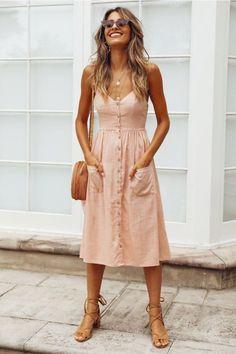 Cotton Button Striped High Waist Dress - Midi dress, boho chic style Source by - Cotton Dresses, Cute Dresses, Casual Dresses, Pink Dresses, Pink Dress Casual, Pink Summer Dresses, 1950s Dresses, Summer Maxi, Flower Dresses