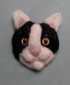 Needle Felted Black and White Cat Brooch  Cat by MoyraBlayneyArt