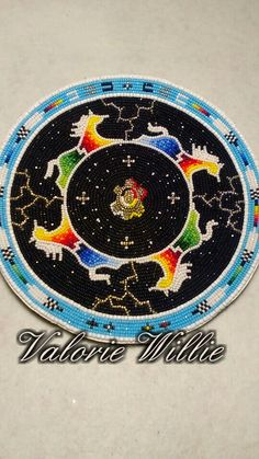 A big medallion. This was fun to do. my turtle moon in the middle. It's almost complete and already sold. Native Beading Patterns, Beadwork Designs, Bead Loom Patterns, Beaded Jewelry Patterns, Powwow Beadwork, Native Beadwork, Native American Beadwork, Beading Projects, Beading Ideas