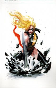 Ms. Marvel painting by Gabriele Dell'Otto. New York Comic Con. 2009.