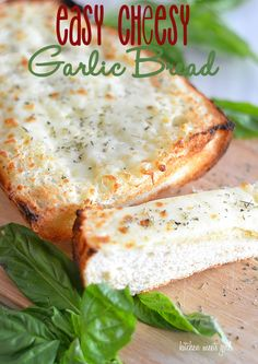Easy Cheesy Garlic bread on kitchenmeetsgirl.com - don't buy those presliced loaves from your grocer when you can make a loaf like this at home!  So gooey and cheesy and perfectly seasoned! #recipes #bread