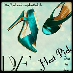 Diane Von Furstenberg sandals Gorgeous teal colored satin sandal with covered 5 inch heel. I believe these are called Zia. Worn a few times and very well taken care of. NO size marked on the shoe. Size 6 Diane von Furstenberg Shoes Sandals