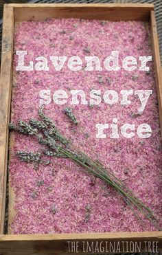 Lavender rice calming sensory play. This would be wonderful for de-stressing at the end of the day!