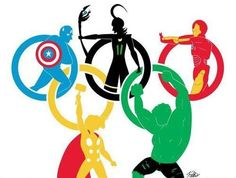 Avengers & Loki set up for their own version of the Olympics.... very cool artwork!