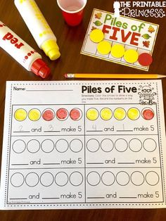 A fun way to practice making 5. Put two-sided manipulatives in a cup, have the kids shake and pour them out. They dab or color the way they made 5.