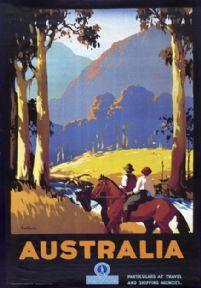 Australia by Horseback. Vintage Travel poster by James Northfield