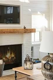 Shiplap Walls Recessed Framed Tv Reclaimed Wood Mantel White Brick Below W Firebox Recessed Wonderful Brick White Brick Fireplace Home Transitional House