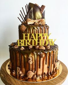 """Cake by Shelley. """"Double tier snickers cake """""""
