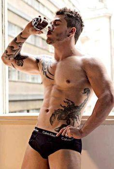 #sexy #hot #men #tattoo #underwear