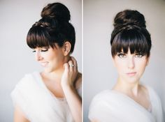 While searching for wedding hairstyle inspiration, I ran across an awesome site called Hair and Make-up by Steph. Recently, she shared 4 bridal hair trends: finger waves, the high bun, faux bob an… Wedding Hair Bangs, Wedding Hair And Makeup, Hair Makeup, Wedding Braids, Braided Hairstyles For Wedding, Formal Hairstyles, Hairstyles With Bangs, Pelo Formal, Bridal Hair Inspiration