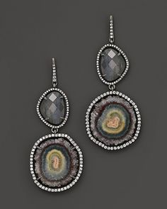 Di Massima Blackened Sterling Silver, Agate, Labradorite Mini Guitar Pick Quartz and Diamond Earrings