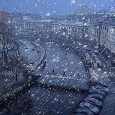 Snowing in St. Petersburg, Russia . magic
