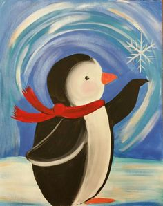 Fast S&H Christmas Penguin Winter Ice Snowflake. by OurCraftAddictions Easy Canvas Painting, Winter Painting, Winter Art, Painting For Kids, Diy Painting, Painting On Wood, Image Painting, Diy Y Manualidades, Christmas Paintings On Canvas