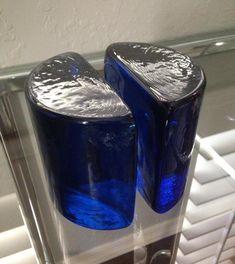 Vintage BLENKO Cobalt Blue Glass Half Moon Bookends Mid Century Modern Art | eBay