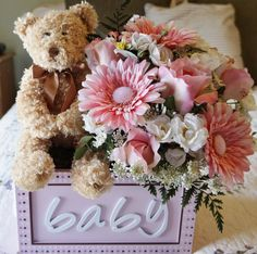 Baby Shower Arrangement, Flower Arrangement, Teddy Bear, Its A Girl, Pink… Girl Baby Shower Decorations, Boy Decor, Baby Shower Centerpieces, Baby Shower Themes, Table Decorations, Centerpiece Ideas, Flower Centerpieces, Baby Boy Shower, Baby Shower Gifts