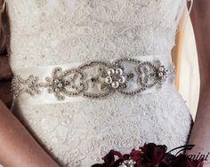 ART DECO Pearl Brooch Bridal sash, crystal wedding sash, bridal accessories, wedding gown sash