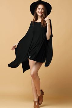 If you've got a casual holiday planned, this loose blouse would like to come along! It features round neck, bat sleeves, solid color and asymmetrical style.