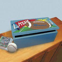 "Sports Card Holder DIY Woodcraft Pattern #908 - Hockey, football, baseball and basketball designs. 5""H x 12""W x 6""D. Pattern by Sherwood Creations #woodworking #woodcrafts #pattern #craft #card #sports #box"