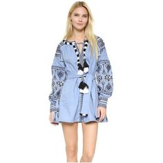 ONE by STYLEKEEPERS Embroidered Dress ($195) ❤ liked on Polyvore featuring dresses, blue, boho embroidered dress, embroidered dress, embroidery dresses, long sleeve short dress and blue mini dress