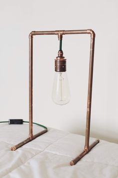 Hand made copper pipe industrial lamp. With your choice of Fabric cord electric cable. Dark green, ash grey or black. Please message to advise which