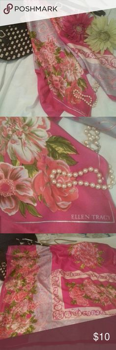 """Ellen Tracy Silk Scarf Vibrant pinks, greens, lavender and creams combine to make this versatile scarf a must have..  34"""" x 34"""" of pure luxery Ellen Tracy Accessories Scarves & Wraps"""