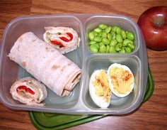 In her lunch box: Lily made the deviled eggs as well as the wrap sandwich. What make it really good is the marinated red peppers in every bite. Edamame with lemon pepper is a delicious side.
