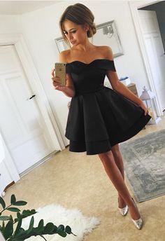 eda1ab4d13a5 Short Black Satin Homecoming Dresses Off Shoulder Prom Cocktail Dress Short  Summer Dresses, Long Dresses