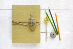 Notebook with iroko and moss Handmade notebook by PaszkowskiPaper