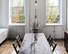 great table, floors, windows