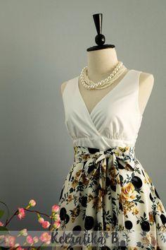 My Lady II Spring Summer Sundress White Top White Floral Polka Dot Skirt Party Tea Dress Floral Dot Bridesmaid Dresses Summer Dress XS-XL