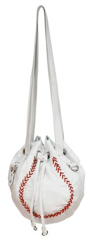 White Baseball Shaped Drawstring Shoulder Bag