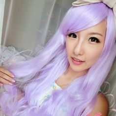 New Women Girls Long Curly Wavy Full Hair Wig Cosplay Party Wigs 80CM Color Light Purple Cute Full Lace