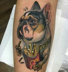Tattoo done by: Enrik Gispert Tattoo Perro, Bull Dog Ingles, Tattoos, Arm Tattoos, Dogs, Animales, Bulldog Tattoo, Tatuajes, Tattoo