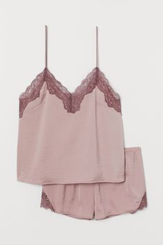 Pajama top and shorts in soft satin. V-neck camisole top with extra-narrow, adjustable shoulder straps and lace at top. Short shorts with narrow, elasticize Sleepwear & Loungewear, Sleepwear Women, Pajamas Women, Satin Pajamas, Pyjamas, Nursing Nightwear, Pijama Satin, Cute Pjs, Short Court