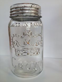 Items similar to Vintage 'Made in Canada' mason jar with silver leaf on Etsy And July, Home Accents, Mason Jars, October, Canada, Homemade, Unique Jewelry, Handmade Gifts, How To Make